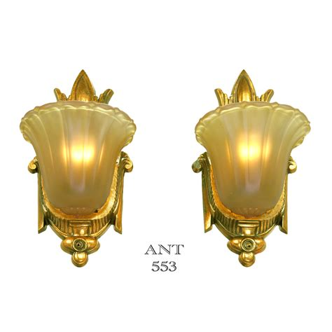 deco gold deco antique slip shade wall sconces gold finish