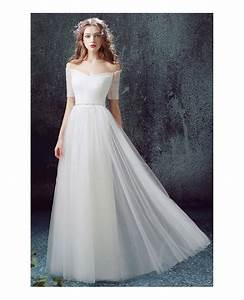 simple a line off the shoulder floor length tulle wedding With simple off the shoulder wedding dresses