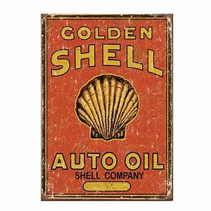 Golden, Shell, Auto, Oil, Company, Vintage, Metal, Signs, Retro, Tin, Plate, The, Wall, Decoration, For