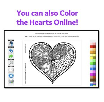 heart coloring pages  valentines day  rachel lynette tpt