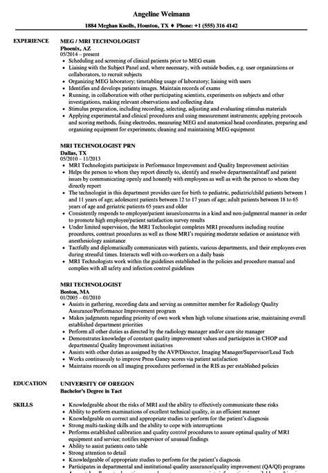 Technologist Resume by Mri Technologist Resume Sles Velvet