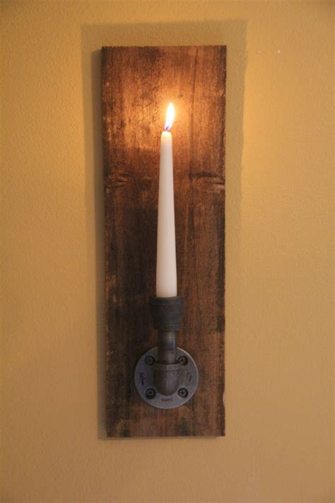 wall sconces candle set of 2 reclaimed rustic wood candle wall sconce