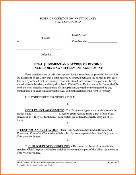 settlement agreement sample marital settlements