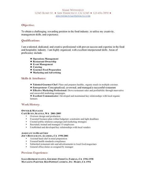 Exle Restaurant Resume by Sle Restaurant Resumes Restaurant Functional Resume