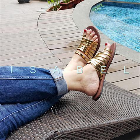 sendal flat emas jual sendal kronjo emas sale sandal sendal jepit teplek lucu santai flat shoes flatshoes