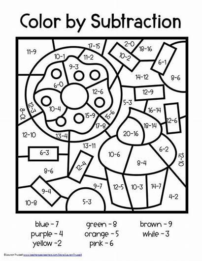 Math Grade Subtraction 2nd Worksheets Coloring Number