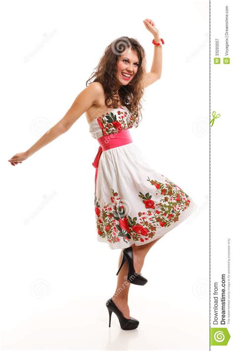fashion young woman  summer dress  white stock image
