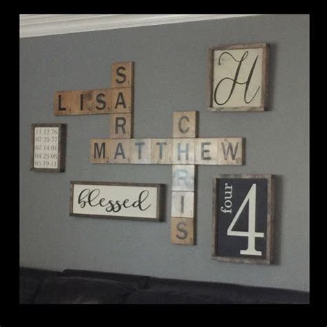 large wood letter tiles wood wall art display family names   beautiful  playful