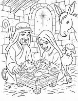 Nativity Primary Jesus Birth Lesson Coloring Christ Line Primarily Inclined sketch template