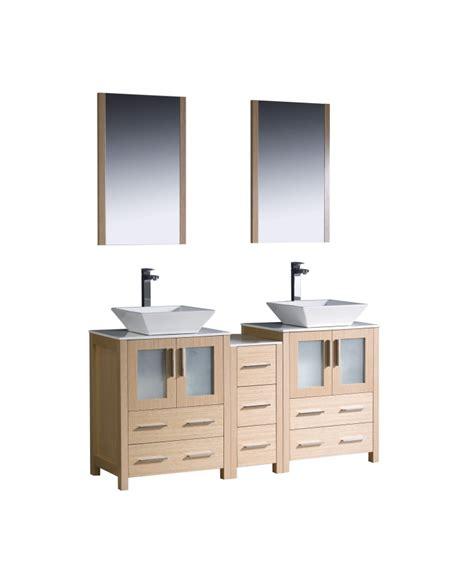 60 inch vanity light 60 inch double vessel sink vanity in light oak with a side