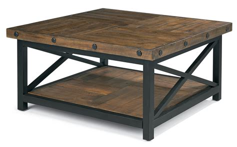 wood top metal base coffee table square cocktail table with metal base and wood plank top