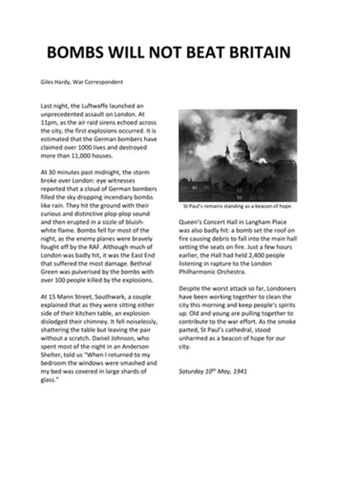 ww blitz newspaper report teaching resources