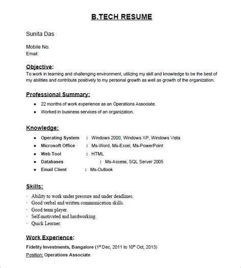 Resume Format For Freshers by Is There Any Site For Resume Sles For Freshers Quora