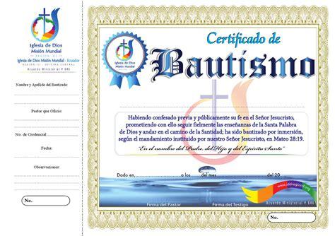 certificado de bautismo by iglesia de dios ecuador region iii issuu