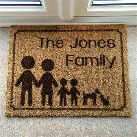 Family Doormat by Four Personalised Family Doormat By Laser Made Designs