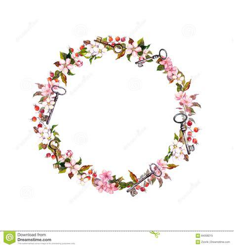 thin box guirnalda floral con las flores de la primavera llaves