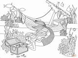 Coloring Underwater Pages Mermaid Ship Treasure Wrecked Supercoloring Printable Drawing sketch template