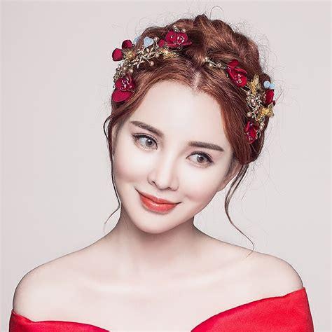 aksesoris pesta pernikahan elegan pernikahan bridal rambut aksesoris perhiasan merah bunga disimulasikan mutiara rambut