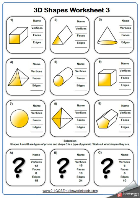 properties of 3d shapes maths worksheet and answers 9 1