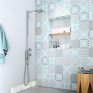 carrelage gris carreaux ciment carreaux de ciment salle de With carrelage mural bleu salle de bain