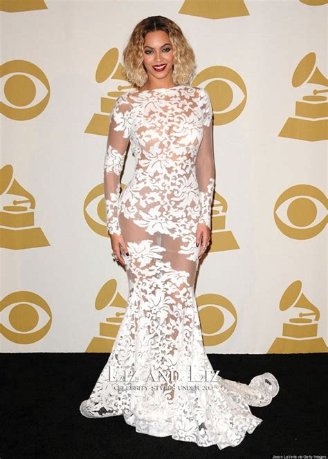Beyonce White Lace Mermaid Prom Red Carpet Dresses Grammys ...