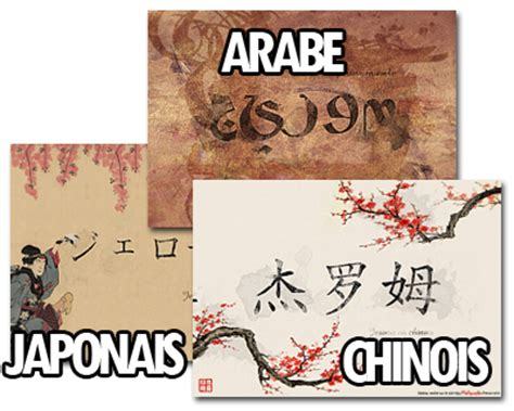 tablier noir de cuisine calligraphie prénom arabe chinois japonais cadeau