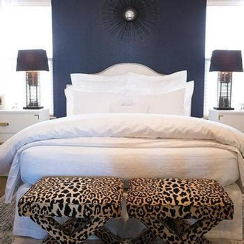 Bedroom Bench Navy Blue by White And Navy Blue Bedroom With Leopard X Bench