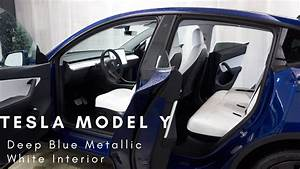 Tesla Model Y Performance in Deep Blue Metallic and White Interior First Look/Review (no ...