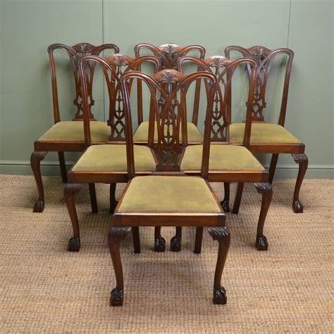 antique dining chairs set of six chippendale design antique dining chairs 1268