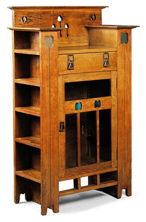 shelves with doors an arts crafts oak display cabinet bookcase circa 1900 5996