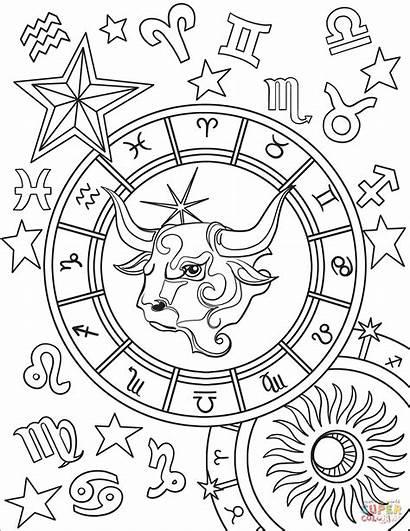 Coloring Taurus Zodiac Adult Aries Printable Supercoloring