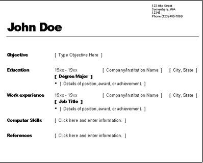 Simple Work Resume by Resume Exles Basic Resume Exles 10 Simple Resumes