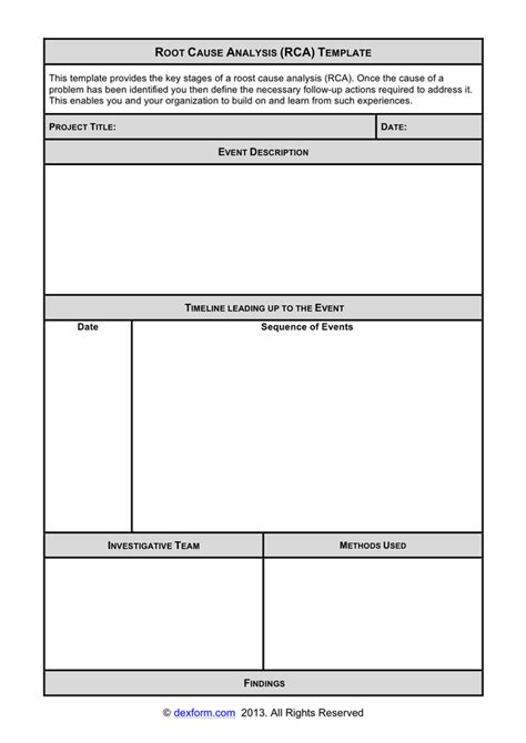 root  analysis template  word   formats
