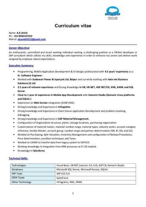 anish ak resume asp net mobile app 4 5yrs
