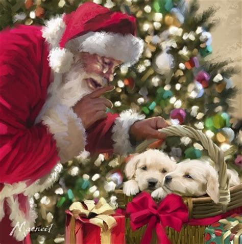 santa  puppies fine art print   macneil studio