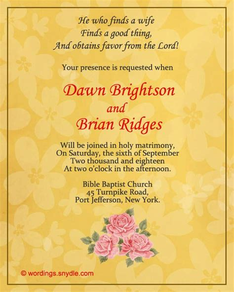 christian wedding invitation wording samples wordings  messages kate drew