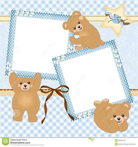 cadre de photo de b 233 b 233 gar 231 on avec l ours de nounours photo stock image 30693770