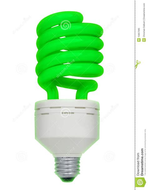 green fluorescent light bulb isolated royalty free stock