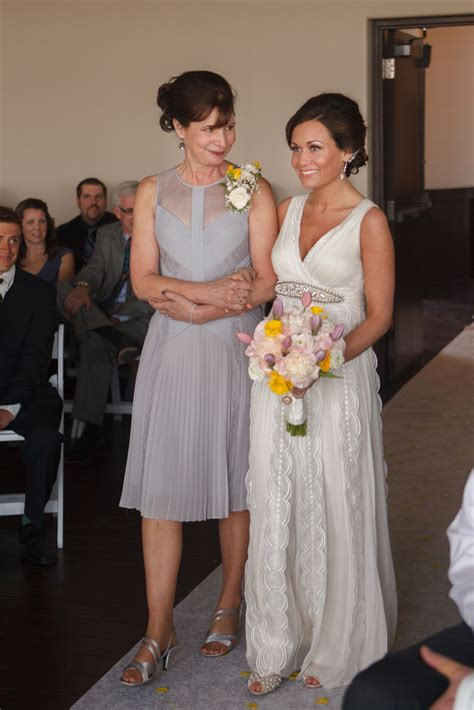 Mother and Bride Walking Down Aisle