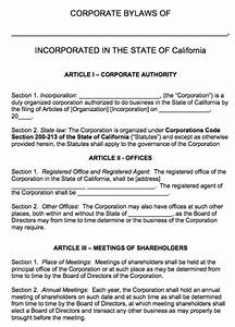 free california corporate bylaws template pdf word With s corporation bylaws template