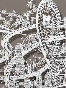 Incredibly detailed twisting rollercoasters paper cut by for Cut paper rollercoasters bovey lee