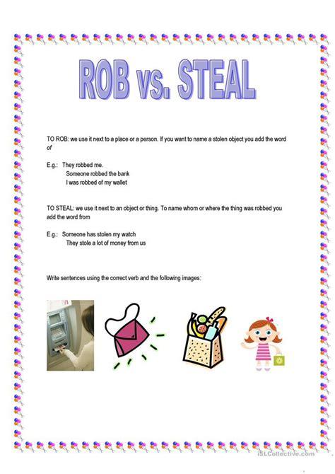 rob  steal worksheet  esl printable worksheets