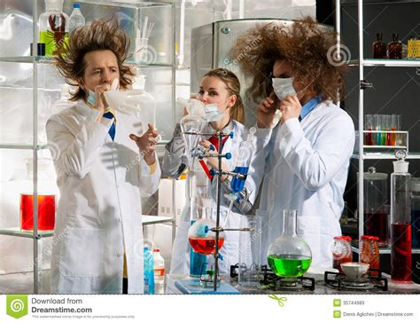 crazy chemists stock image image  discovery glassware