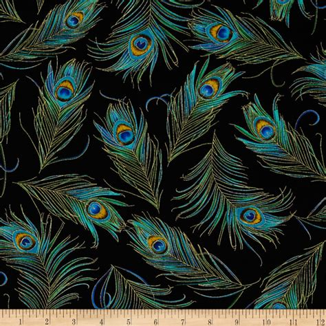 Peacock Feather Upholstery Fabric by Timeless Treasures Enchanted Plume Metallic Peacock