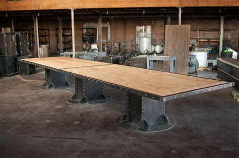 Retro Metal Kitchen Cabinets by I Beam Conference Table Vintage Industrial Furniture