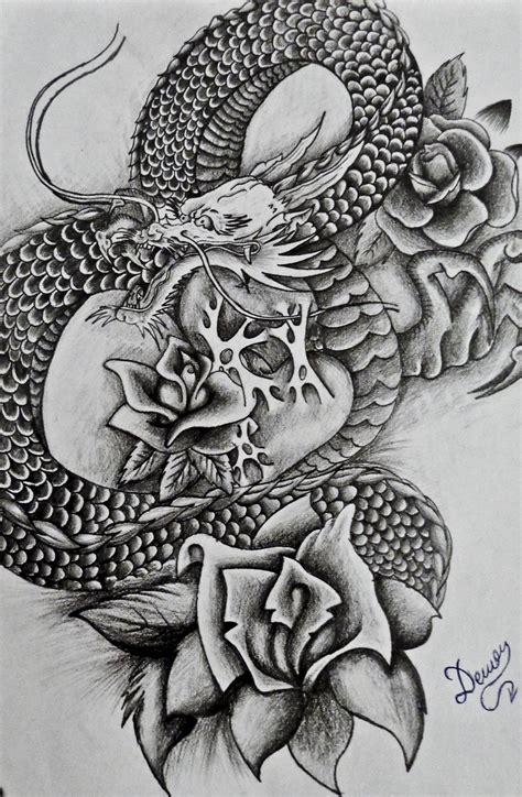 traditional japanese dragon   roses  hip tattoocom