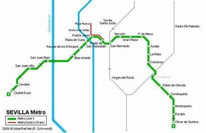 Seville Sevilla Metro Map Mapa Kaart Tourist