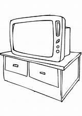 Coloring Pages Tv Furniture Printable Sofa Mycoloring Mebel Dlya Detey Coloringtop sketch template