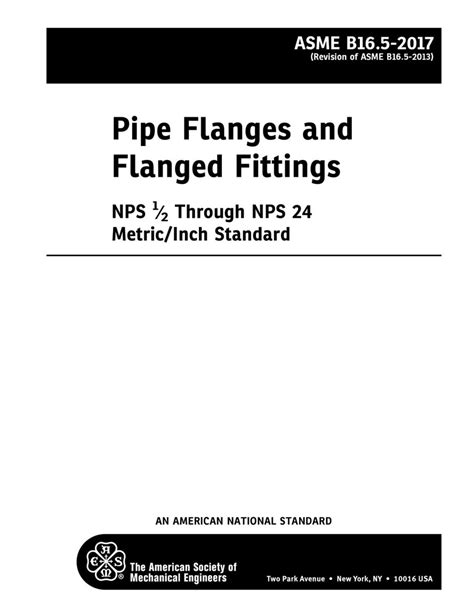 ASME B16.5-2017 Pipe Flanges and Flanged Fittings NPS 1/2