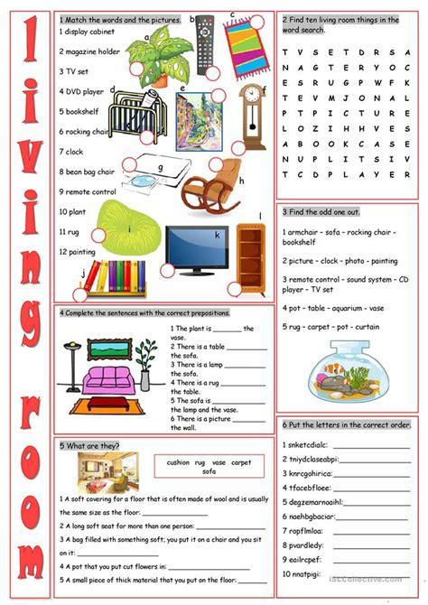 living room vocabulary exercises worksheet  esl